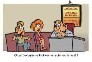 Onze biologische klokken verschillen teveel (cartoon)